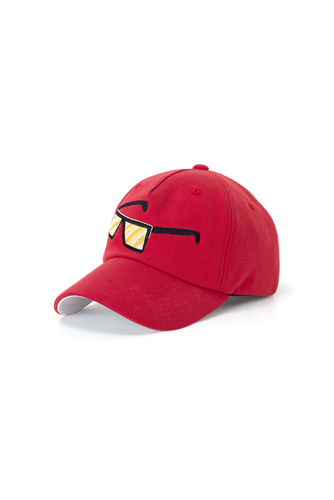 SUNGLASS EMBROIDERY BALL CAP (RED)
