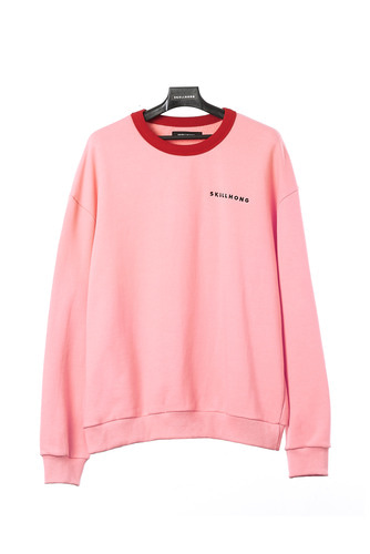 SKULL HONG NECK POINT SWEATSHIRT (PINK)